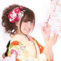 桜と振り袖